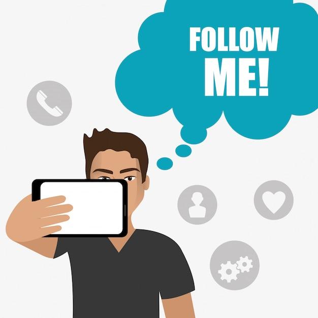 Suivez-moi la conception de thèmes sociaux et commerciaux Vecteur gratuit