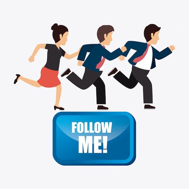 Suivez moi social et business Vecteur gratuit