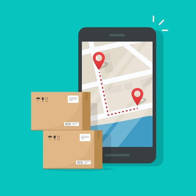 Suivi De La Livraison De Colis Sur Les Destinations De La Carte De La Ville Par Téléphone Portable Vecteur Premium