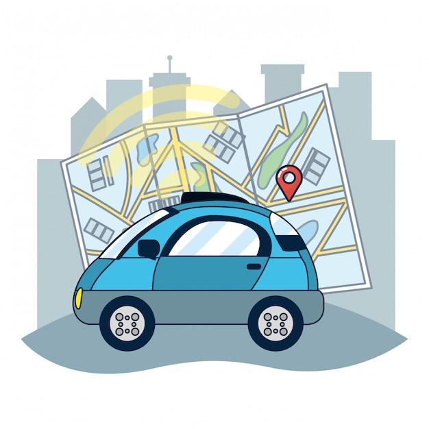 Suivi de véhicule par gps Vecteur Premium
