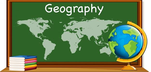 Sujet de géographie avec carte du monde et livres Vecteur gratuit