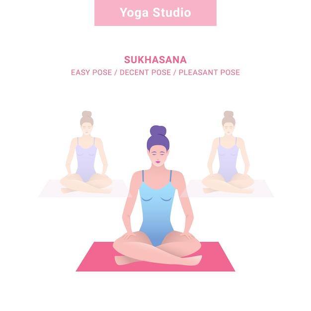 Sukhasana, pose facile / pose décente / pose agréable. studio de yoga. yoga de vecteur Vecteur Premium