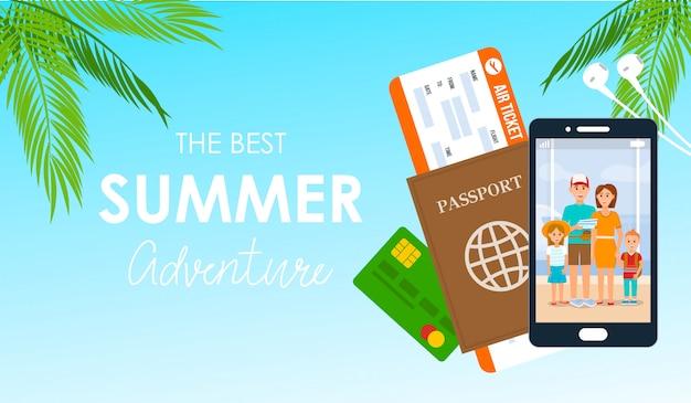 Summer adventure lettering vector poster Vecteur Premium
