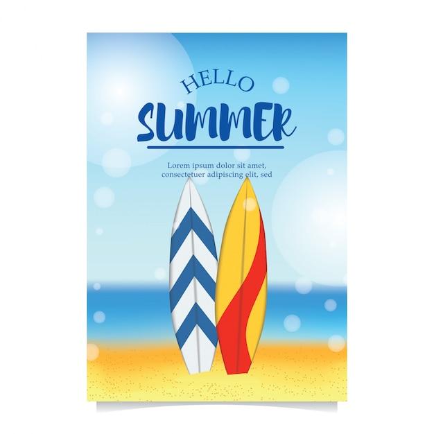 Summer beach party avec planche de surf Vecteur Premium