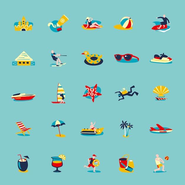 Summer beach retro icons background set Vecteur gratuit