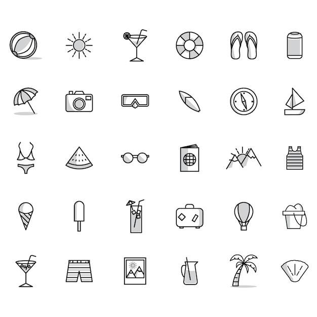 Summer Collection D'icônes Vecteur gratuit