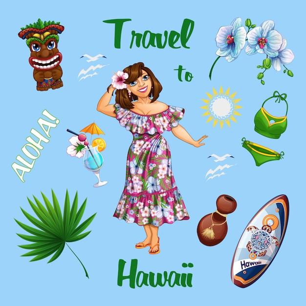 Summer hawaiian sertie d'une belle fille touristique et de souvenirs. Vecteur Premium