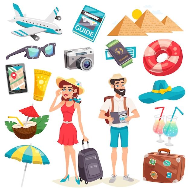 Summer holiday icons set Vecteur gratuit