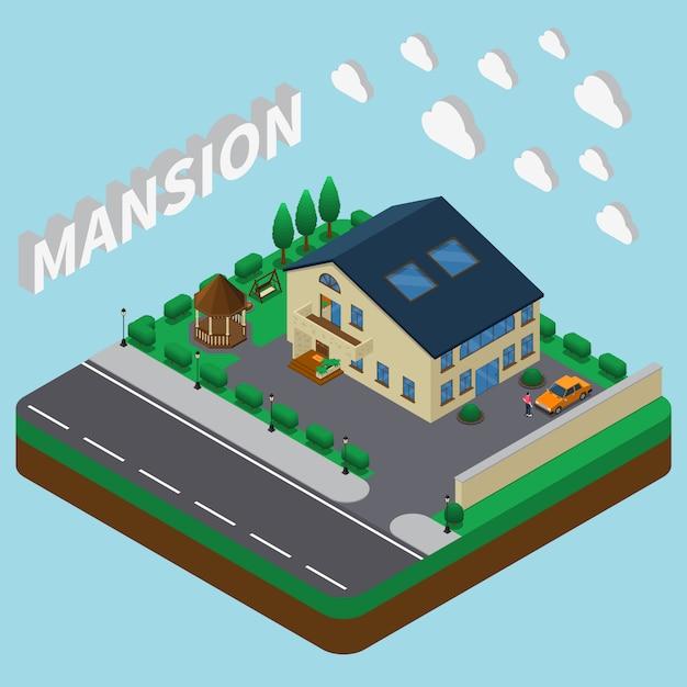 Summer mansion isometric Vecteur gratuit