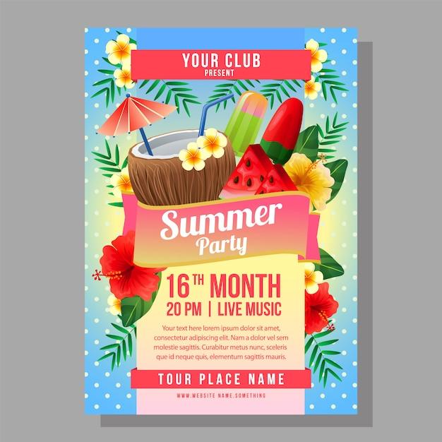 Summer party affiche modèle vacances avec illustration vectorielle été boisson Vecteur Premium