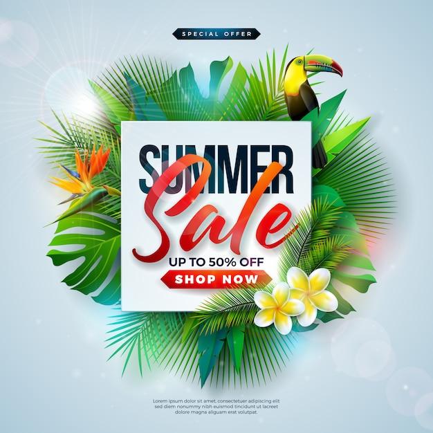 Summer sale design avec des fleurs et des feuilles de palmier exotiques Vecteur Premium