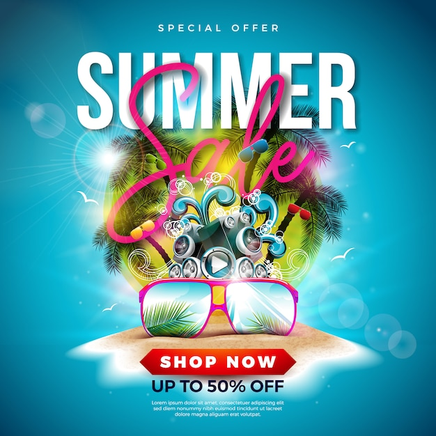 Summer sale design avec des palmiers et des lunettes de soleil Vecteur Premium
