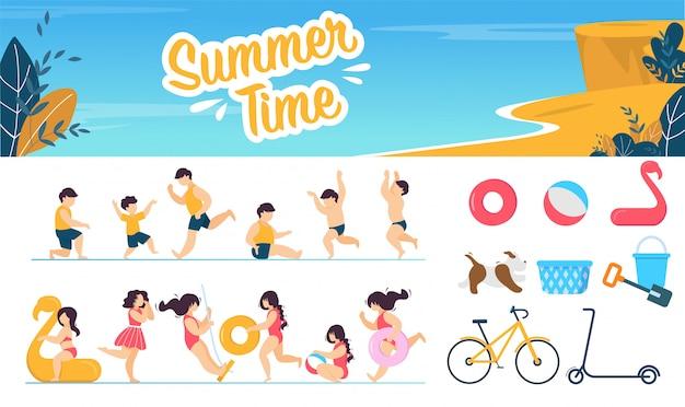 Summer time marine set avec personnages d'enfants Vecteur Premium