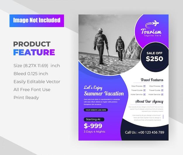 Summer Vacation Tours & Travel Agency Flyer Design Template Vecteur gratuit