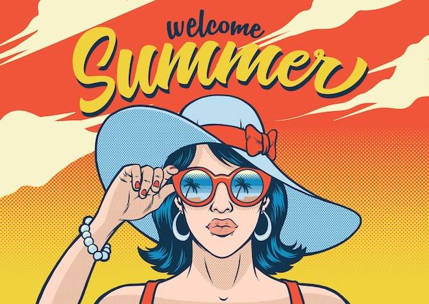 Summr fille portant des lunettes de soleil Vecteur Premium