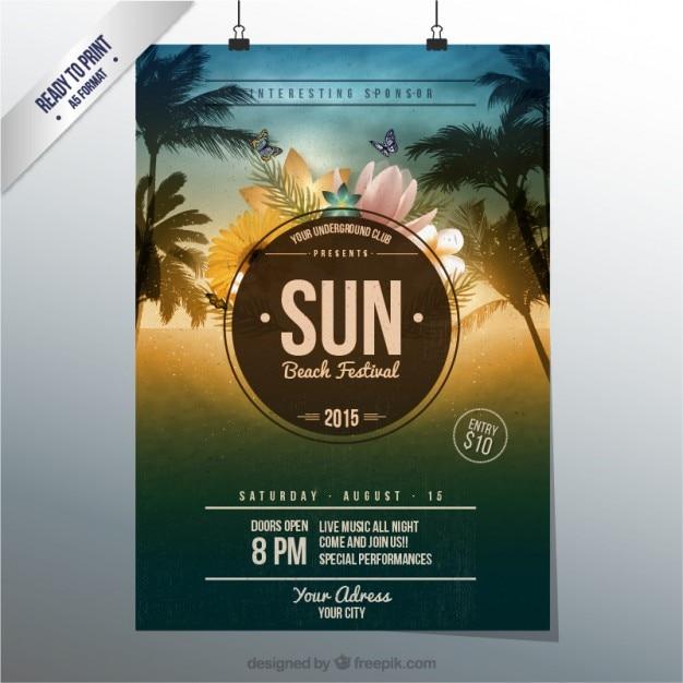 Sun affiche du festival de plage Vecteur Premium