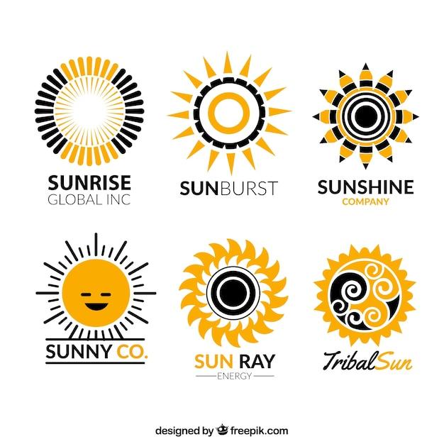 Sun Logos Collection Vecteur Premium
