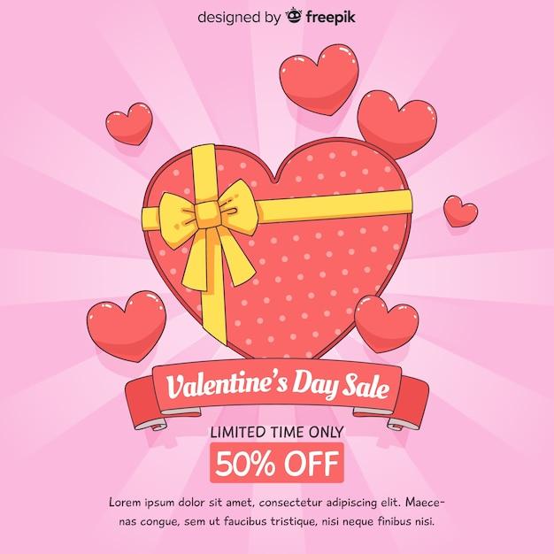 Sunburst saint valentin vente fond Vecteur gratuit