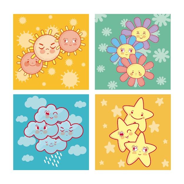 Suns nuages fleurs et étoiles dessins animés mignons Vecteur Premium