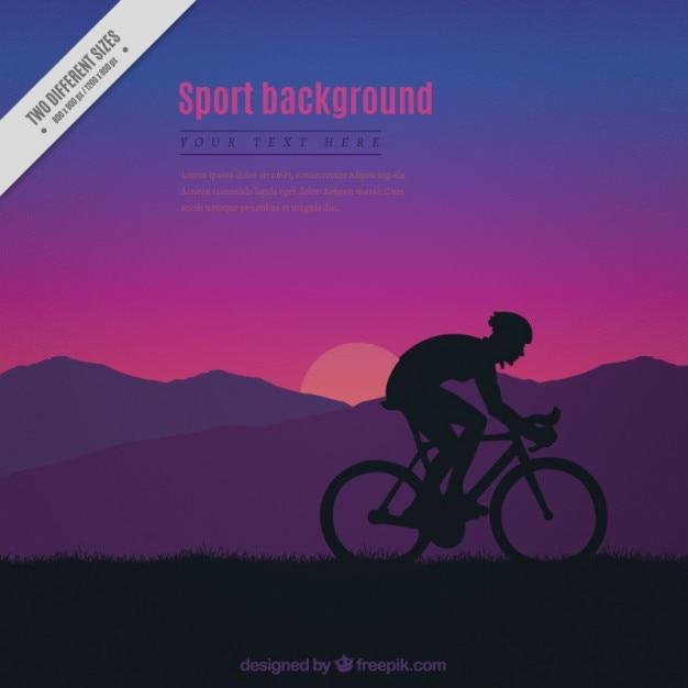 Sunset background avec une silhouette de cycliste Vecteur gratuit