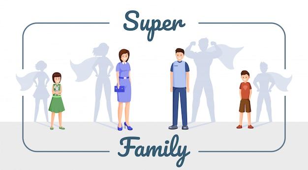 Super bannière modèle de famille Vecteur Premium