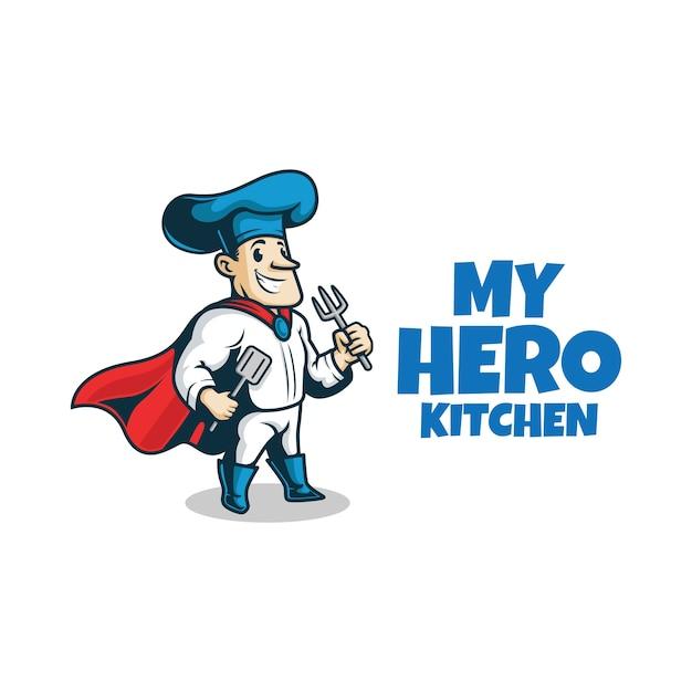 Super Chef Avec Fourchette Et Spatule. Mascotte De Héros De Chef. Vecteur Premium
