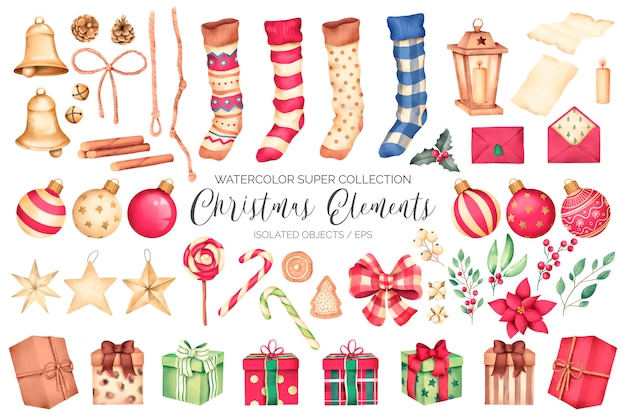 Super collection d'éléments de noël à l'aquarelle Vecteur gratuit