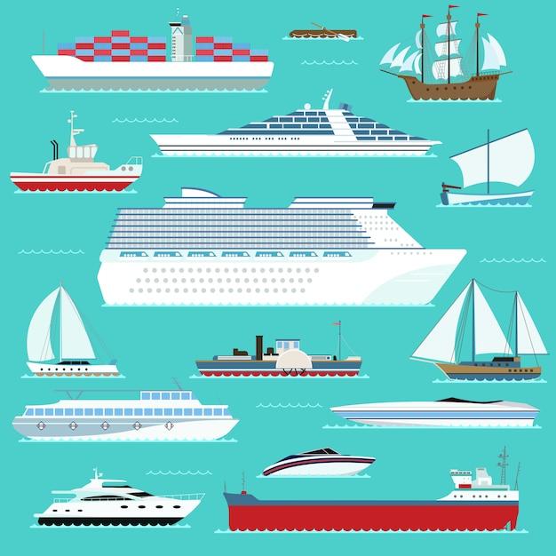 Super ensemble de bateaux de transport maritime bateau maritime, navire, navire de guerre, yacht, ce qui, transport aéroglisseur dans le style de vecteur de design plat moderne. Vecteur Premium