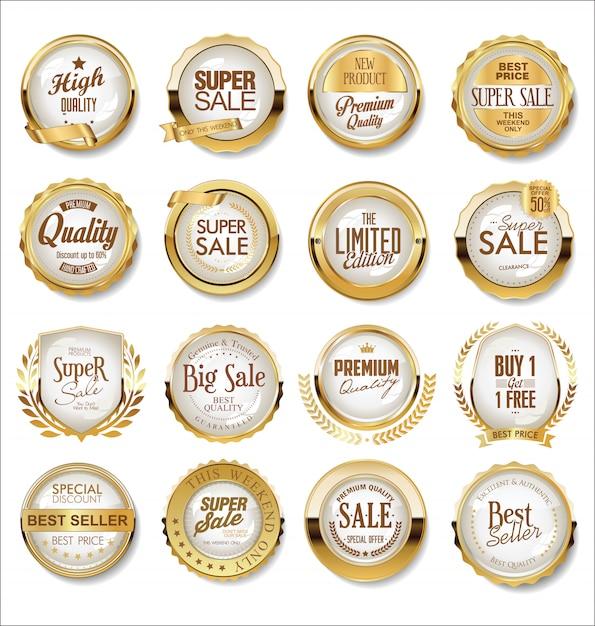 Super étiquettes de vente d'or Vecteur Premium