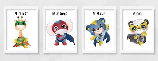 Super-héros Animaux Mignons Avec Illustration Aquarelle Vecteur Premium