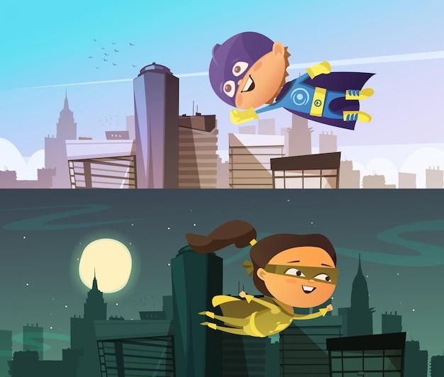 Super-héros enfants deux bannières horizontales plates avec figurines garçon et fille de bande dessinée habillé Vecteur gratuit