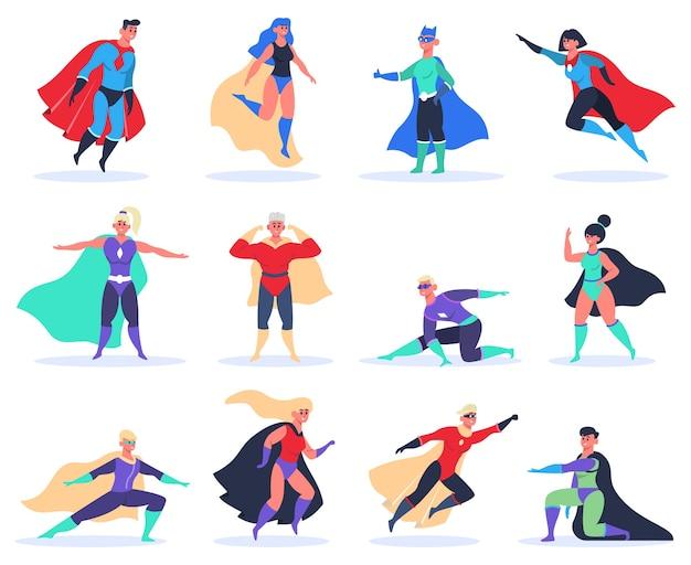 Super-héros Féminins Et Masculins Isolés Sur Blanc Vecteur Premium