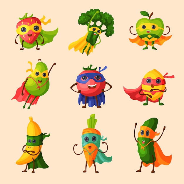 Super-héros Fruits Personnage De Dessin Animé Fruité De Légumes D'expression Avec Super-héros Drôle En Illustration De Masque Vecteur Premium
