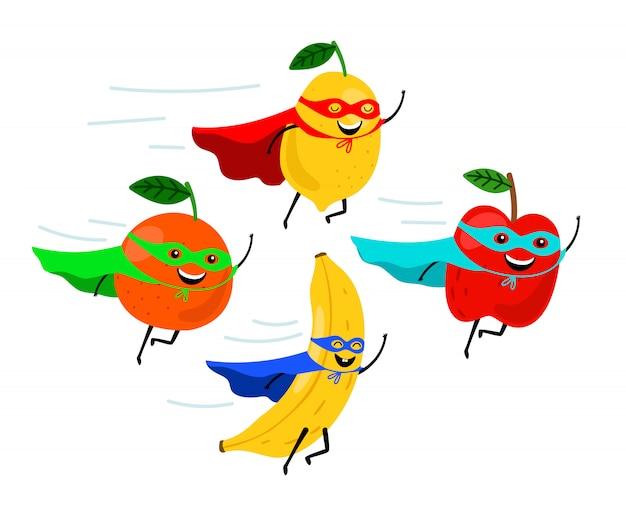 Super-héros De Fruits Souriants Vecteur Premium