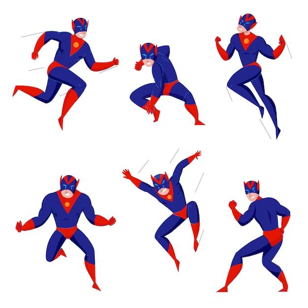 Super-héros Puissant Super Bête Bande Dessinée Jeux Caractère Bleu Body En 6 Actions Pose Combat Battant Saut Vecteur gratuit