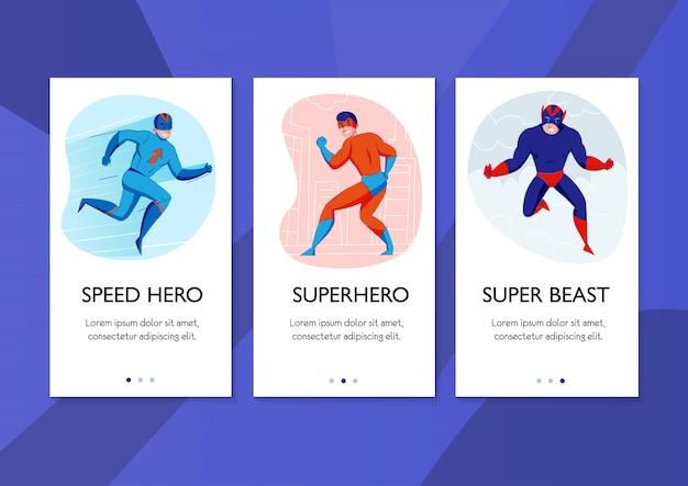Super-héros Vitesse Héros Super Bête Bande Dessinée Personnages Action Pose 3 Bannières Verticales Fond Bleu Vecteur gratuit