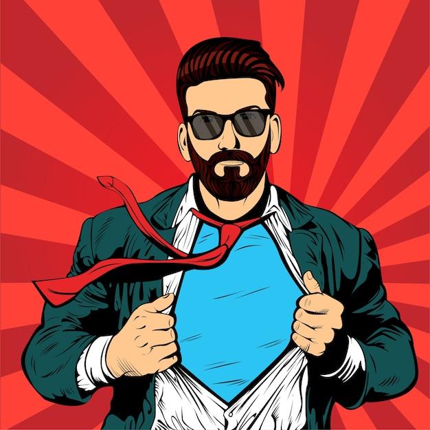 Super Hipster Barbe Homme D'affaires Pop Art Rétro Vecteur Premium
