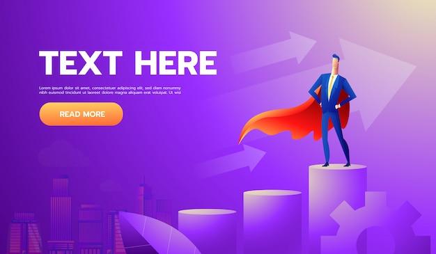Super homme d'affaires ou gestionnaire se tenant en haut du graphique Vecteur Premium
