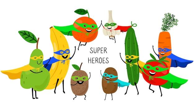 Super Légumes Fruits. Super-héros Avec Des Sourires Et Des Masques, Carotte Tomate Banane Orange Poire Isolé Sur Blanc Vecteur Premium