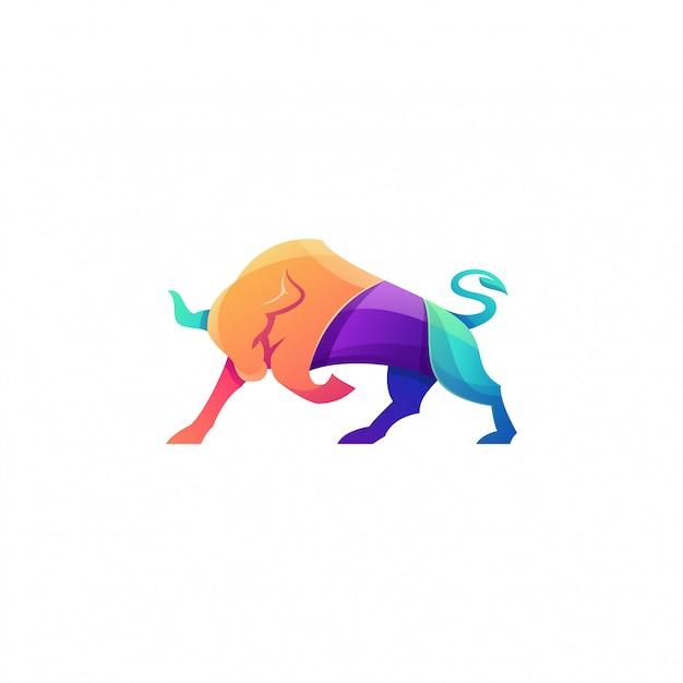 Super logo coloré taureau en colère Vecteur Premium