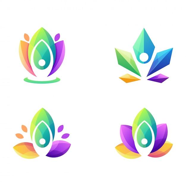 Super logo coloré de yoga Vecteur Premium