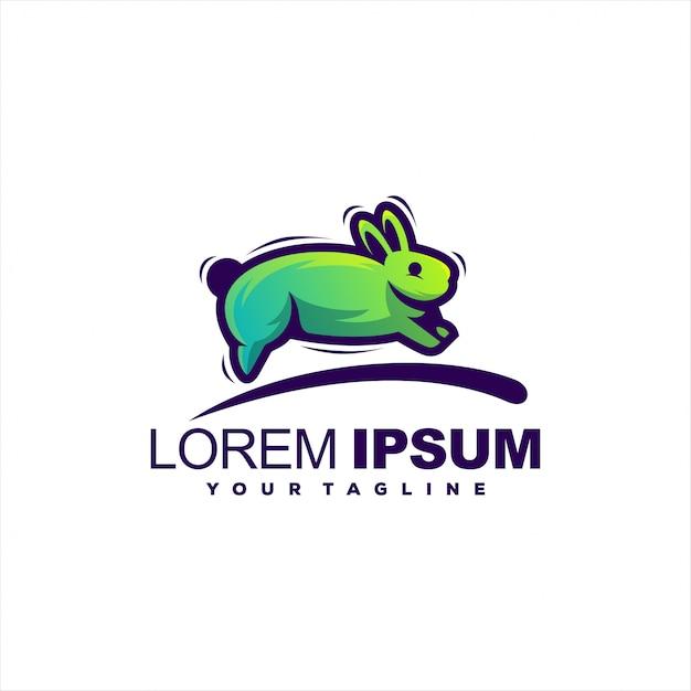 Super logo de lapin en cours d'exécution Vecteur Premium