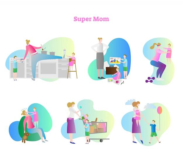 Super maman collection Vecteur Premium