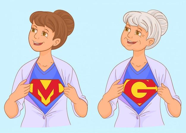 Super maman et super grand mère Vecteur Premium