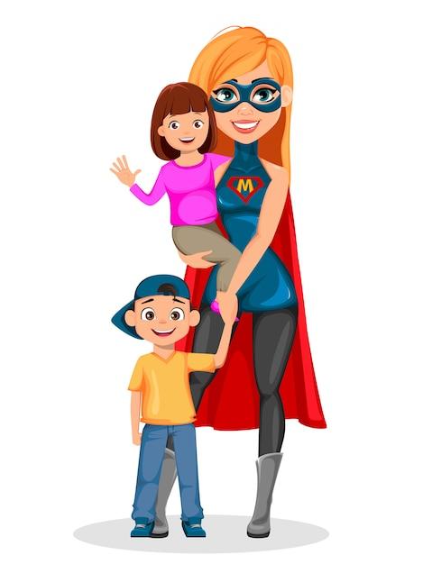 Super mère femme super héros Vecteur Premium