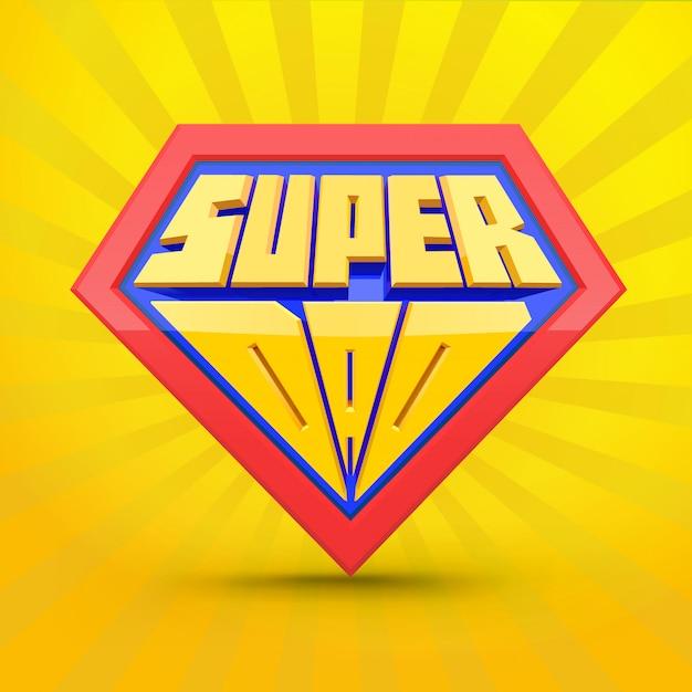 Super-papa. Logo Superdad. Concept De Fête Des Pères. Père Super-héros. Style Comique. Vecteur Premium