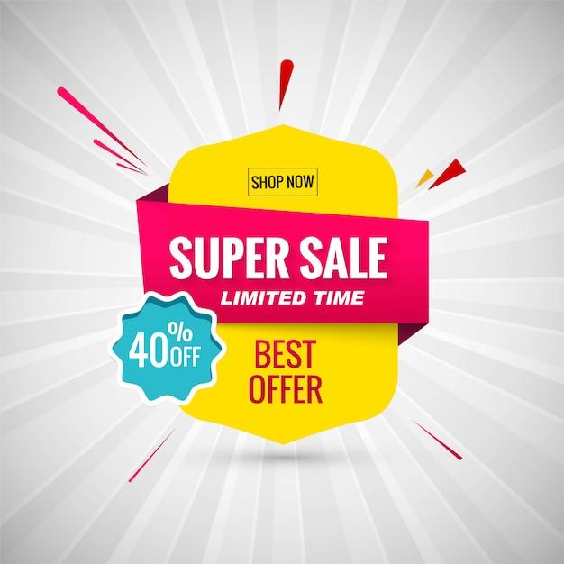 Super vente bannière design. illustration vectorielle Vecteur gratuit