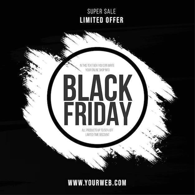 Super Vente Bannière Vendredi Noir Avec Fond De Coup De Pinceau Vecteur gratuit