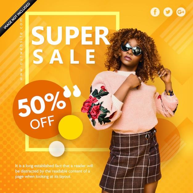 Super vente jaune affiche de mode Vecteur Premium