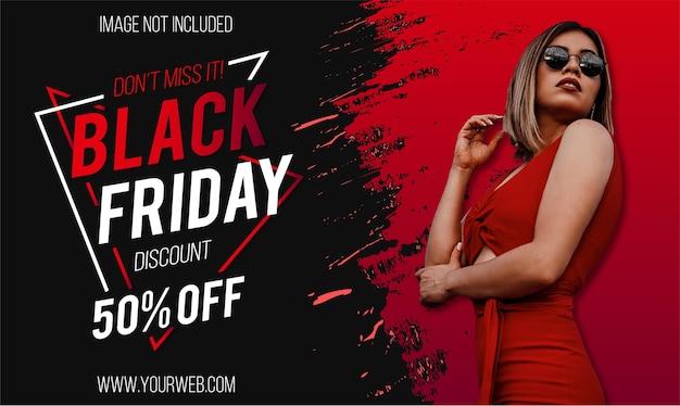 Super Vente Moderne Du Vendredi Noir Avec Un Design De Bannière Red Splash Vecteur gratuit